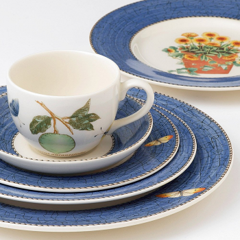 Sarah's Garden Cereal Bowl Blue