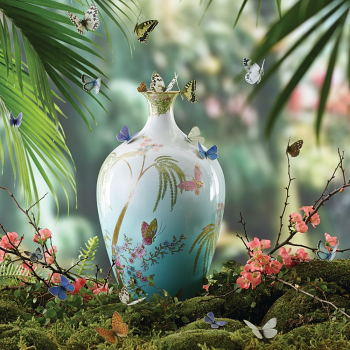 Jade Butterfly 35cm Vase