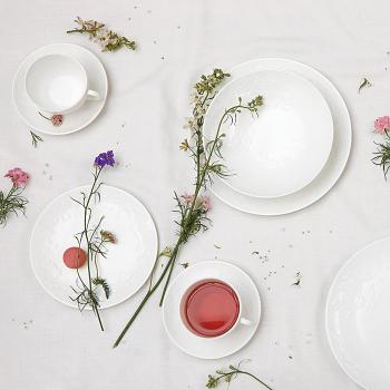 Wild Strawberry White Teacup & Saucer