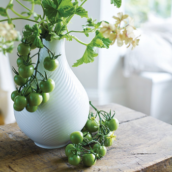White Folia Bulb Vase 23cm