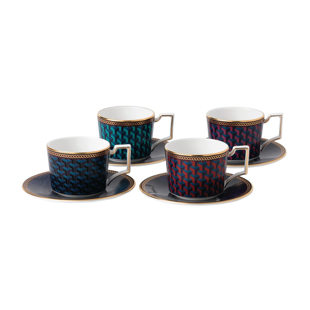 Wedgwood Byzance Set of 4 Espresso Cups and Saucers ...