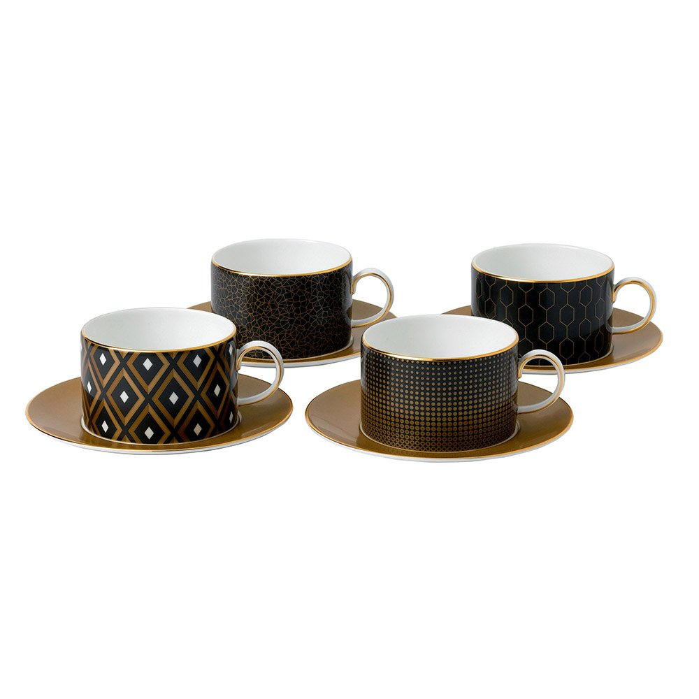 Arris Teacups & Saucers Set of 4