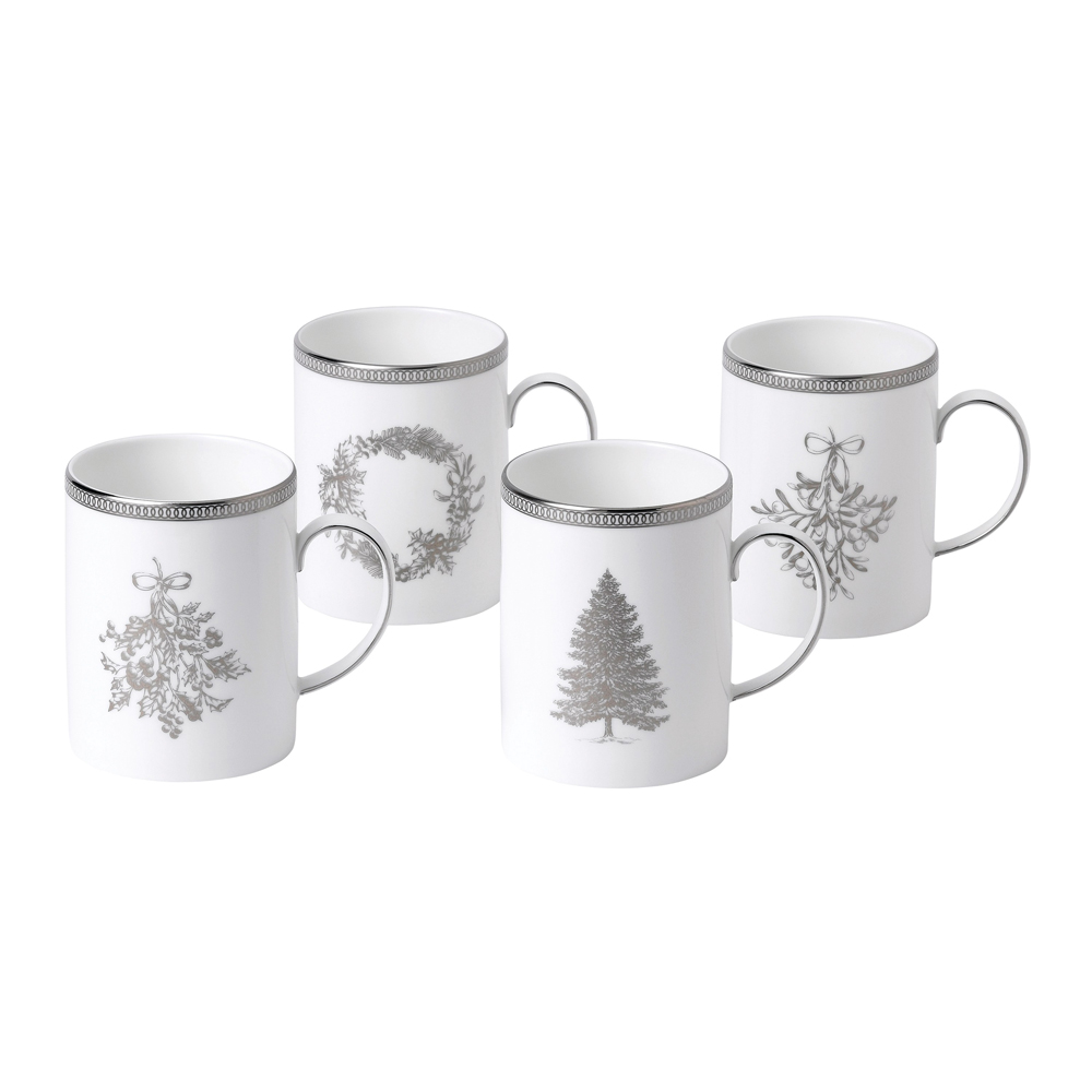 Christmas Mugs.Christmas Mugs Set Of 4