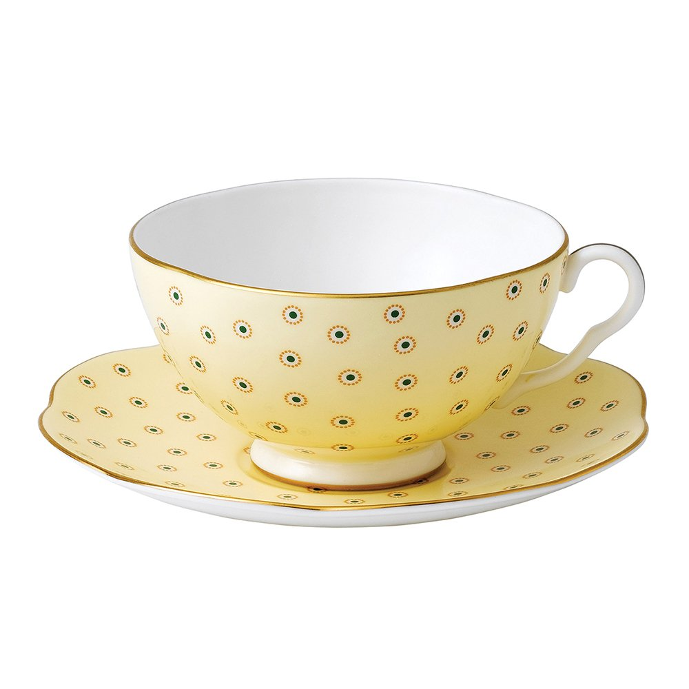 Wedgwood Polka Dot Yellow Teacup Amp Saucer Set
