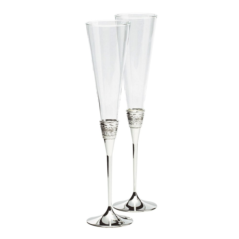 vera wang wedgwood with love silver giftware toasting flute pair