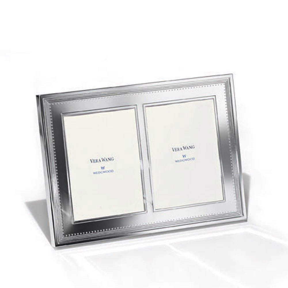 vera wang wedgwood grosgrain silver giftware double frame 5x7