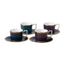 Wedgwood Byzance Set of 4 Espresso Cups and Saucers