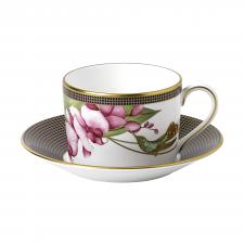 Hummingbird Teacup & Saucer White
