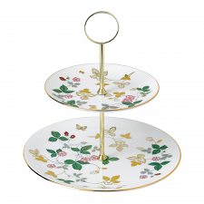 Wild Strawberry Gold 2 Tier Cake Stand