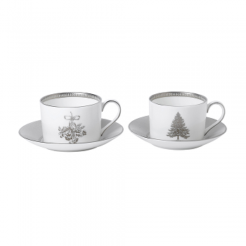 Winter White Set of 2 Teacup & Saucer