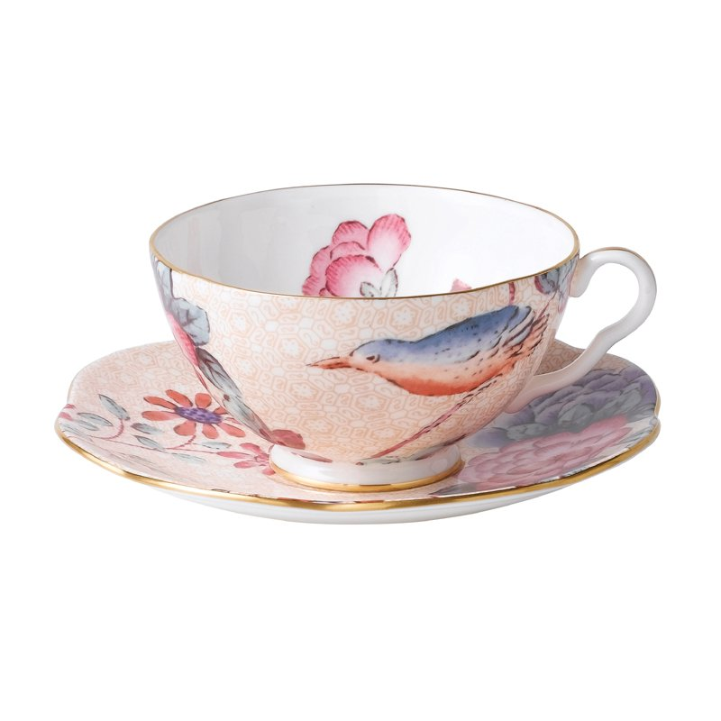 Wedgwood Cuckoo Peach Teacup & Saucer Set
