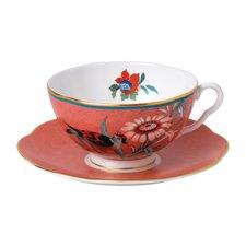 Paeonia Blush Teacup & Saucer Coral