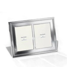 "Vera Wang Wedgwood Grosgrain Silver Giftware Double Frame 5""x7"" (12.5x18cm)"