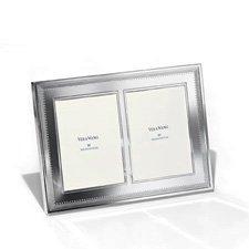 """Vera Wang Grosgrain Silver Giftware Double Frame 5""""x7"""" (12.5x18cm)"""