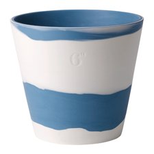 Burlington Pots Pale Blue on White Pot 6inch