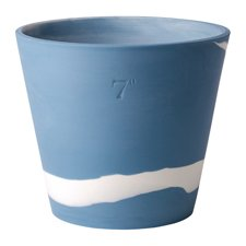 Burlington Pots White on Pale Blue Pot 7inch