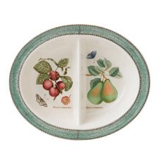 Sarah's Garden Oval Divided Dish Green