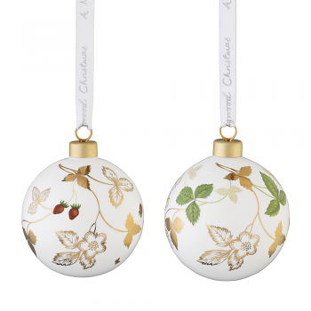 Christmas Baubles Wild Strawberry Set of 2