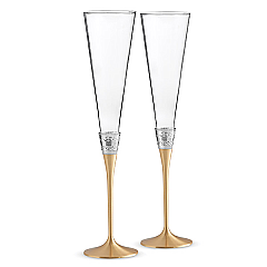 Vera Wang Wedgwood Wedgwood  With Love Gold Flute Pair
