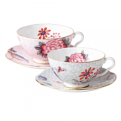 Wedgwood Cuckoo 2 Teacups & Saucers Gift Set