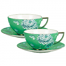 Jasper Conran At Wedgwood Chinoiserie Green Teacup & Saucer Pair Set