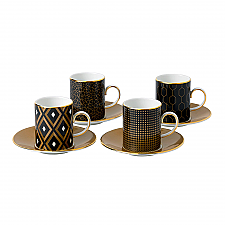 Arris Espresso Cups & Saucers Set of 4