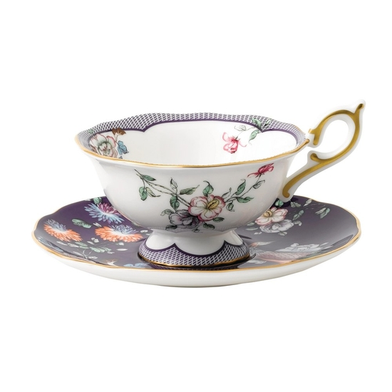 Wonderlust Midnight Crane Teacup & Saucer