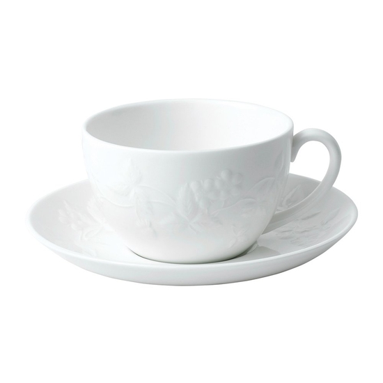 Wild Strawberry White Teacup & Saucer