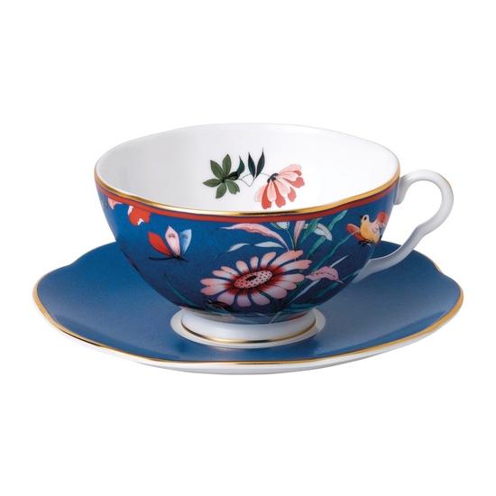 Paeonia Blush Teacup & Saucer Blue