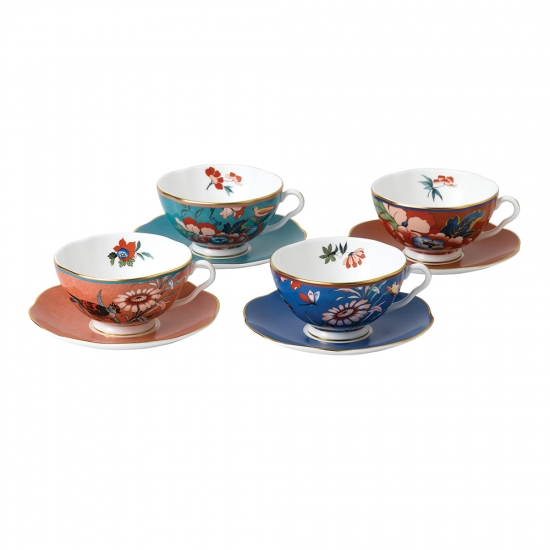 Paeonia Blush Teacup & Saucer Set of 4