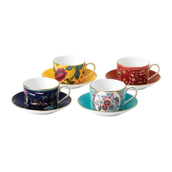 Wonderlust Teacup & Saucers Set of 4