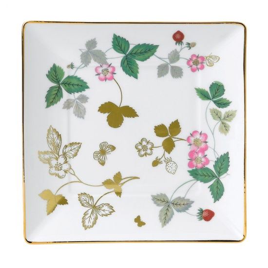 Wild Strawberry Gold Square Tray