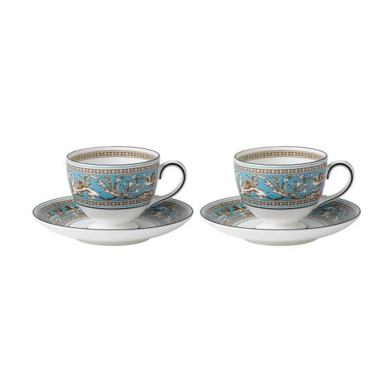 Florentine Turquoise Teacup & Saucer Set of 2