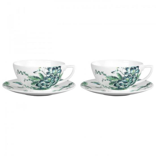 Jasper Conran Chinoiserie White Set of 2 Teacup & Saucer Boxed